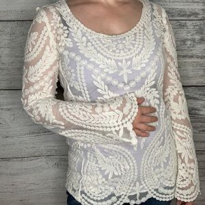 Fully Embroidered Chelsea & Violet Cream Boho Top